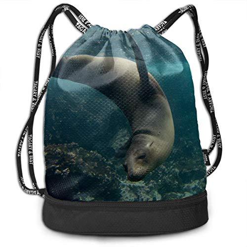 OKIJH Mochila Mochila de ocio Mochila con cordón Mochila multifuncional Bolsa de gimnasio Drawstring Bags For Girls Cute Ugly Sea Lion Animal Gym Drawstring Bags Backpack Sports String Bundle Backpack