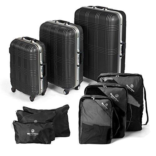 MasterGear Hartschalen Koffer mit Aluminium Rahmen 3er Set + Kleidertaschen Set in schwarz - mit 4 Rollen (360 Grad), Trolley, Reisekoffer, ABS, TSA, S...