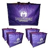 MAKUBIC Pack de 5 Bolsas Reutilizables Grandes 58x38x40 con Cremallera y Asas,...