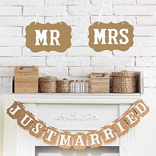 Dusenly Bunting de la silla MR & MRS &Just Married Wedding Banner Bunting Photo Booth Props Garland Decoración de la Ducha Nupcial con Mr and Mrs Chair Signs
