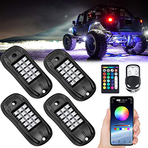 USTELLAR RGB LED Rock Lights 4 Pods APP Remote Timing Music Sync Color Changing Neon Lighting Kit Waterproof Exterior Underglow Light for Jeep Under Car Truck ATV RZR UTV SUV Off Road AUTO Motorcycle