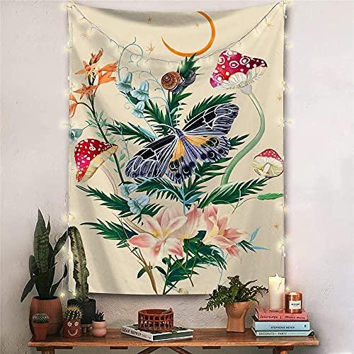 Tapiz psicodélico de fase lunar, mariposa, hongo, montaje en pared, tapiz de vid de flor, manta de mandala A3 180x200cm
