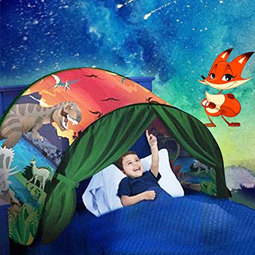 elebaby® Kids Dream Bed Tents Foldable Pop Up Play Tent for Children Night Sleeping Mattress Tent Playhouse with Storage Pocket, Boys and Girls Christmas Birthday Gifts, Bedding Decor (Dinosaur)