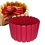 ELICUISINE 013907 Moule A Charlotte Silicone, Rouge, 19 cm