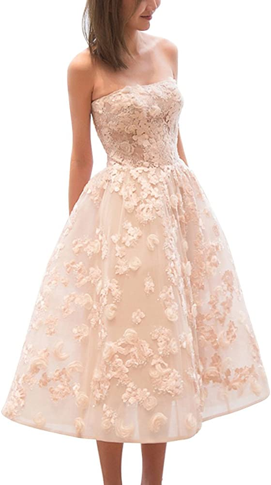 Newdeve Pink Strapless Flower Applique Short Homecoming Dresses Lace Applique Yarn Zipper Prom Evening Cocktail Dresses