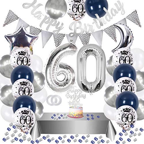 60. Geburtstag Dekoration,60 Geburtstag Deko Blau Silber,Silber Konfetti Luftballons Number Folienballon 60 Luftballons,Happy Birthday Banner,Geburtstagsdeko 60 Jahre für Frau Mann