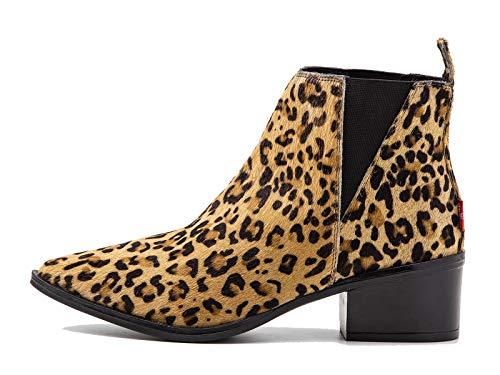 Levis Damen Schuhe Gaia Pony - Stiefeletten, Ankle Boot, Leder Animal Print, Braun 36 EU