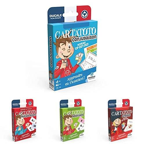 LA DUCALE - Lot de 4 Jeux Cartatoto - Addition, Multiplication, Conjugaison, Anglais - Eco Format