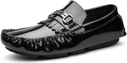 XXY Leder Herren Driving Loafers aus echtem Lackleder Penny Mokassins Sohle mit Metall & Quaste Decor Dress Schuhe Schuhe