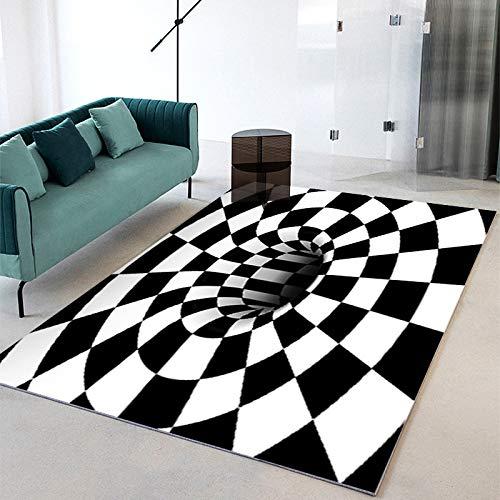 SunYe 3D Visuelle Geometrie Abstrakte Wohnzimmer Teppich Verdickt Doppelschicht Büro Fußmatten Maschinenwaschbaren Haustier Teppich, rutschfeste Fußmatte, Schlafzimmer Nachttisch