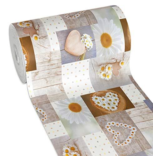 Tappeto Cucina Gomma Shabby Chic Margherite Antimacchia Antiscivolo Passatoia Varie Misure Multiuso Bagno Camera MOD.Mendy Dis.9 50x270