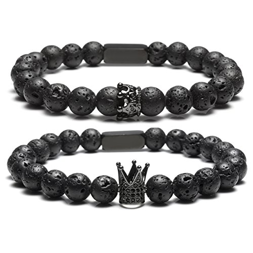 JOVIVI Schmuck, Lava-Armband Damen Herren Reiki-Energietherapie Armreif 8mm Lava Beads Buddha-Armband, Silber Löwe-Kopf Stil (Partner Set)