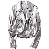 Yiyu Frauen Regen Knit Silber PU-Lederjacke Motorrad Leder Gurtschlosses Farbe Front-Blase x (Color : Silver, Size : S)