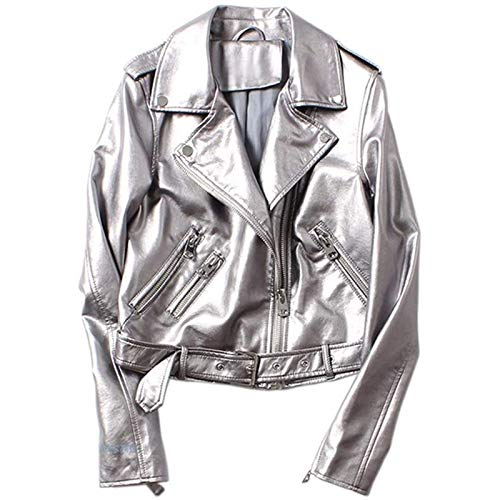 Yiyu Frauen Regen Knit Silber PU-Lederjacke Motorrad Leder Gurtschlosses Farbe Front-Blase x (Color : Silver, Size : M)