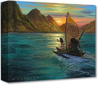 Disney Fine Art - Sailing Into The Sun by Walfrido Garcia - Treasures on Canvas Moana 12 Inches x 16 Inches Reproduction Gallery Wrapped Canvas Wall Art