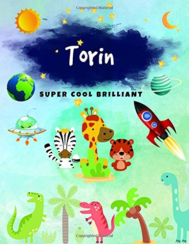Torin: Journal, Sketchbook and Notebook Gifts for Boys & Kids - Composition Size (8.5'x11') With Large Lined Pages, Perfect for Journal, Writing, ... Pirate & Watercolor Design)