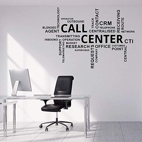 Centro de llamadas calcomanía de pared nube de palabras estudio de oficina texto decoración de interiores puerta y ventana pegatina de vinilo arte creativo mural