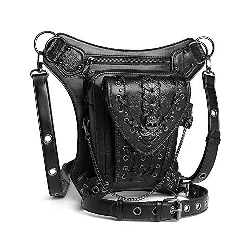 LEADALL Steampunk Motorradtasche, Vintage Leder Gürteltasche Steampunk Bekleidungszubehör Retro Motorradtasche Rock Gothic Gürteltasche Drop Beintasche Reise-Umhängetasche
