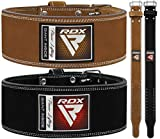RDX Weight Lifting Belt for Powerlifting Approved by IPL and USPA Double Prong Gym Training Leather Belt 10mm Thick 4 inch Lumbar Back Support - Great for Strongman, Bodybuilding, Deadlifts & Squats