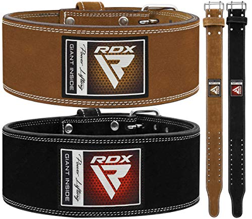 RDX 4 inch weightlifting fitness leather gym belt image