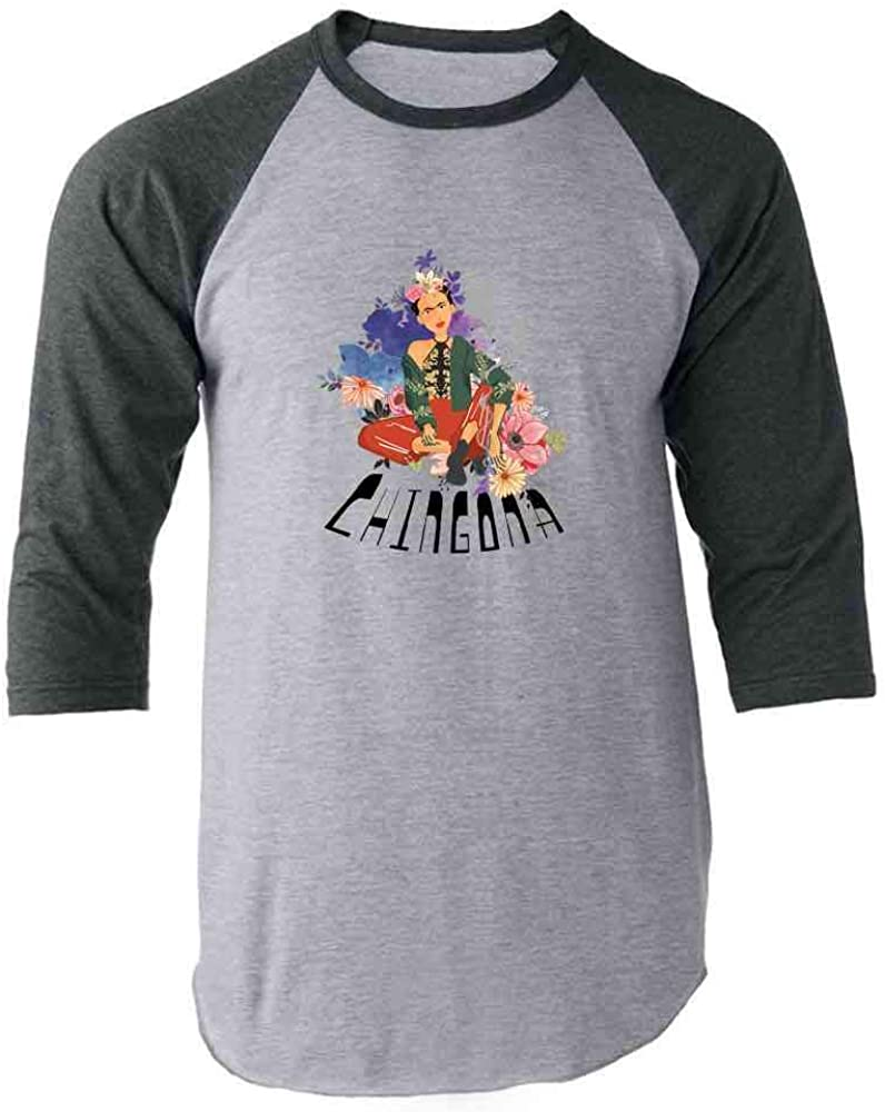 Chingona Frida Cinco de Mayo Feminist Gray 2XL Raglan Baseball Tee Shirt