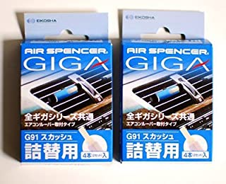 Eikosha Air Spencer JDM (Squash) Giga Giga2 and Bijou Clip on Air Freshener Fragrance Refill (2 Boxes)