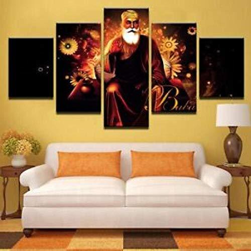 120Tdfc Puzzle-Iron Cuadro En Lienzo 5 Piezas Lienzo HD Pared Hogar Pasillo Mural Listo para Colgar Decor Obra Arte Enmarcar RegaloNanak Sikhism