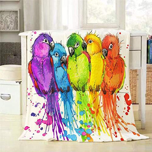 Mugod Funny Parrots Throw Blanket Watercolor Tropical Nature Cute Birds Decorative Soft Warm Cozy Flannel Plush Throws Blankets for Bedding Sofa Couch 50 X 60 Inch