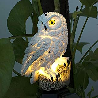 Garden & Sculptures - Owl Solar Light with Solar LED Panel Owl Waterproof IP65 Outdoor Solar Powered Led Path Lawn Yard Ga...