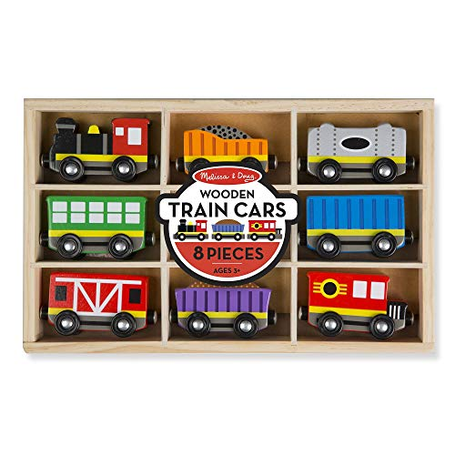 Melissa & Doug Wooden Train Cars (8-Piece Train Set),Multicolor
