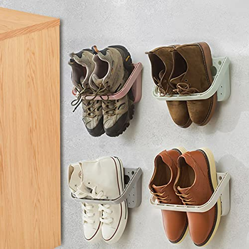 4Pcs Wall Mounted Shoes Rack, Folding Hanging Space Saver Shelf for Shoes Storage Rack, without Drilling Draining Removable Shoes Plastic for Entryway Over the Door Shoe Hangers Max Hold 10KG