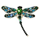 EVER FAITH Dragonfly Gold-Tone Teardrop Brooch Pin Green Austrian Crystal