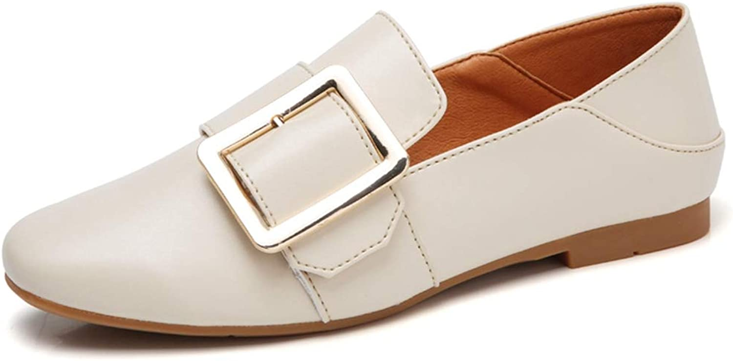 August Jim Women Flat shoes,Slip on Pointed Toe Buckle Strap Moccasins Loafers shoes