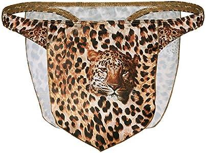 inhzoy Tanga de Leopardo para Hombre Slip Camuflaje Impreso Tigre Taparrabo Ropa Interior Sexy Briefs Disfraz de Selva para Halloween Fiesta G-String Marrón X-Large