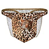 Agoky Men's Leopard Jungle Loincloth Animal Thong Male Power Thongs Novelty Underwear Brown X-Large (Waist 35.0'-45.0')
