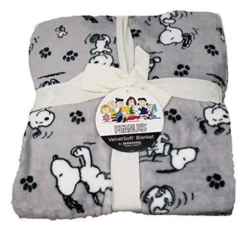 Peanuts Snoopy and Woodstock Gray Full/Queen Super Soft Bed Blanket