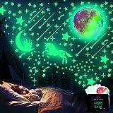 WELLXUNK Adhesivos de Pared Luminosos, 297 Piezas Adhesivos de Pared Decorativos Fluorescentes de Luna Y Estrellas, Utilizados Para Decoración de Habitaciones Murales de Interior Para El Hogar