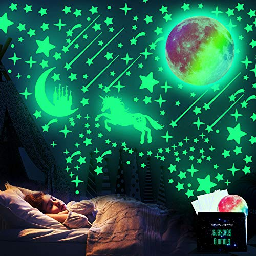 WELLXUNK Glow in The Dark Stickers, 297 Pezzi Stelle Luminose E Adesivi Murali Luna Fluorescente, Adesivi Murali Fluorescenti, Molto Adatti Per La Cameretta Dei Bambini Decorazioni