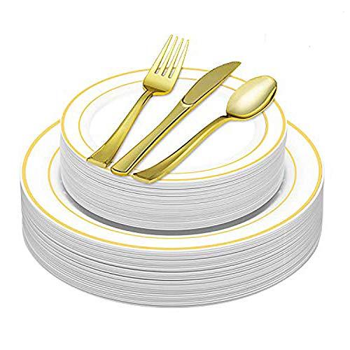 LOMOFI 100 Piezas Set de Cubiertos de Plástico Juegos de Cubiertos, Juego de Cuchillos/Tenedores/Cucharas/Platos, Utilizar para la Boda del Partido, Servir para 20 Personas (Oro)