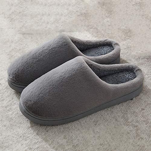 AYDQC Hombres Deslizadores de Invierno Hombres y Mujeres Pareja Indoor Hogar No resbalón Soft Algodón Zapatos Mujeres Sólido Color Peluche Zapatos Zapatos (Color : B, Size : Code 44)