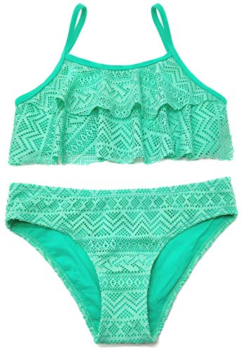 SHEKINI Mädchen Zweiteiler Bikini Badeanzug Teenager Bademode Spitze Schwimmanzug Tankini Set (8-10Year/134-140cm, Grün)
