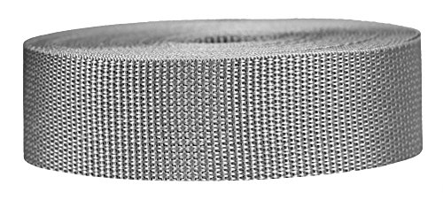 Strapworks Lightweight Polypropylene Webbing - Poly Strapping for Outdoor DIY Gear Repair, Pet Collars, Crafts – 1.5 Inch x 25 Yards - Silver Gray