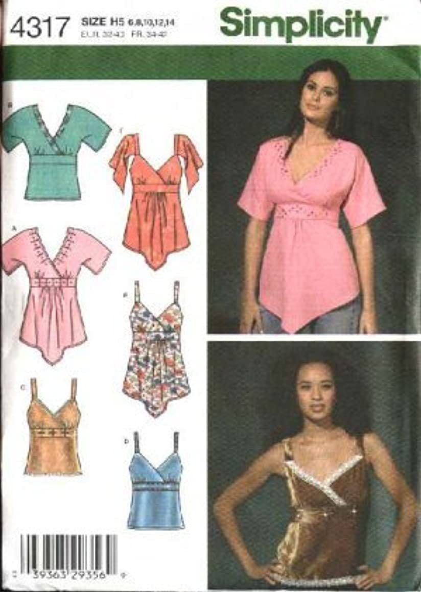 Simplicity 4317 Raised Waist Summer Tops Sewing Pattern - Misses Size 6-8-10-12-14