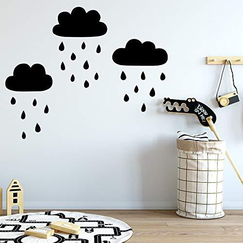 Nubes Lluvia Vinilo Adhesivos de pared para niños Decoración de la habitación Tatuajes de pared Dorado M 30cm X 61cm