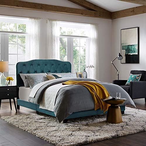 Modway Amelia Tufted Performance Velvet Upholstered Twin Bed in Sea Blue