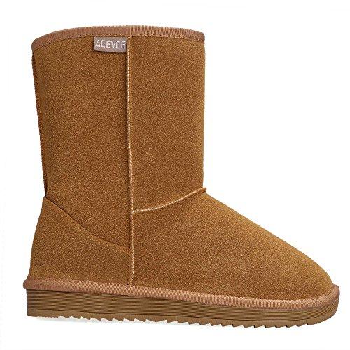 Acevog Zapatos Invierno Clásicos Botas de Nieve de Alta para Mujer de Navidad, talla 40, color marron