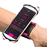 VUP Wristband Phone Holder for iPhone Xs Xs Max XR X 8 8 Plus 7 7 Plus 6S 6 5S Samsung Galaxy S9 S8 Plus S7 Edge, Google Pixel, 180° Rotatable, Great for Hiking Biking Walking Running Armband (Pink)