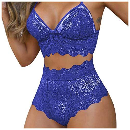 Copelsie Damen Neckholder Dessous Set Sexy Bikini Halter Spitze BH Lingerie Unterwäsche Nachthemd Negligee String Reizwäsche