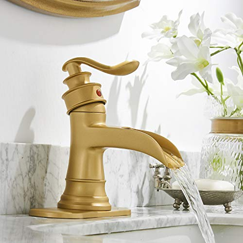 Bathroom Faucet Brushed Gold Brass Waterfall Sink Single Hole Vanity with Pop Up Drain Basin Bath Faucets Centerset with Overflow One Handle Lavatory Mixer Tap Supply Line Lead-Free by Homevacious