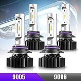 CZC AUTO LED Headlight Bulbs 9005 9006 Combo Led Headlight Kit High Beam Low Beam 4 Pack LED Headlamps 6000K Bright White LED Bulb Super Bright 20000LM LED Headlights Set Over 30000 Hours